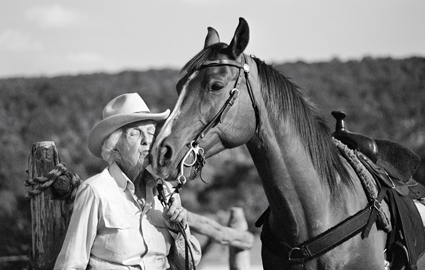 101-year-old cowgirl, Connie Reeves and her horse